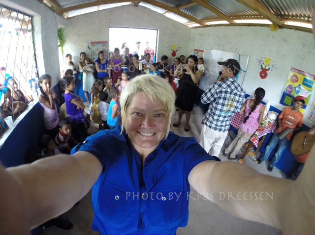 Me, with the residents of Las Minitas at the opening celebration of the school.