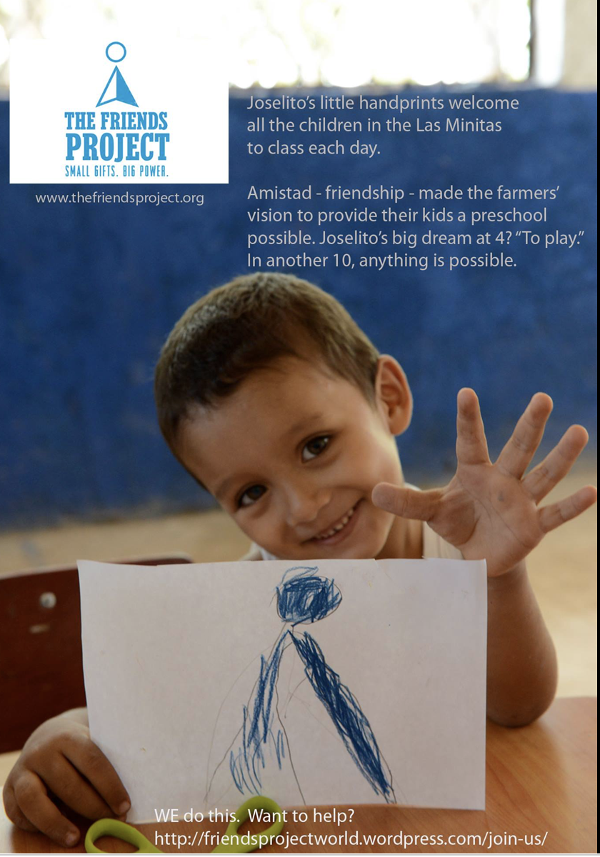 Ad with photo of a young child holding up his hand with a sign that shares the logo of the Friends Project.
